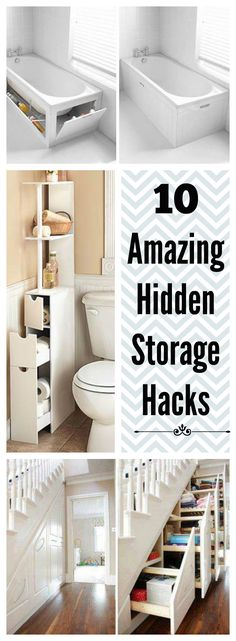 look into plans for the thin cabinet beside the toilet. These 10 incredible hidden storage ideas will make you wish you had them in your home. Let these organization solutions inspire your next home project! Tiny House Living, Home And Living, Storage Solutions, Storage Ideas, Diy Storage, Creative Storage, Hidden Storage, Home Hacks, Home Organization