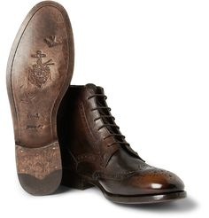 Washed-Leather Brogue Boots