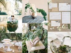 A romantic lakeside wedding inspiration board with a white, green, and khaki color palette that's perfect for an outdoor, summer wedding. http://burnettsboards.com/2014/01/romantic-lakeside-wedding/