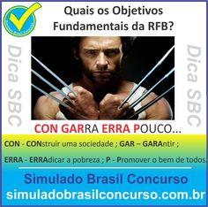Boa noite Concurseiros, mais uma mega DICA SBC.  ---------------------------------------  Quais os Objetivos Fundamentas da RFB (Republica Federativa do Brasil)?  Resposta: CON GARRA ERRA POUCO...  CON - CONstruir uma sociedade ; GAR – GARAntir ; ERRA - ERRAdicar a pobreza ; P - Promover o bem de todos.  ---------------------------------------  Aproveite!!! Compartilhe!!! Curte!!!  Muito Obrigado e Bons Estudos, Simulado Brasil Concurso  #simuladobrasilconcurso, #dicaSBC