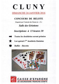 Concours de belote des Classes en 0 le 24 janvier 2016 à Cluny.