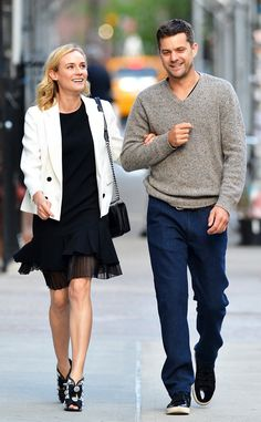InSync from Diane Kruger's Street Style  With beau Joshua Jackson, Diane breaks out an enviablepair of heels with an LBD and white blazer.