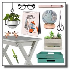"""""""#homeoffice"""" by hellodollface ❤ liked on Polyvore featuring interior, interiors, interior design, home, home decor, interior decorating, Kikkerland, Bellerby & Co, Umbra and EyeBuyDirect.com"""