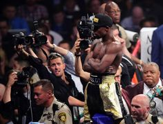 Floyd Mayweather celebrates after defeating Manny Pacquiao. Joe Camporeale-USA TODAY Sports