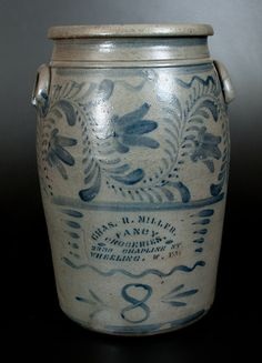 8 Gal. Stoneware Crock with Wheeling, WV Advertising and Profuse Cobalt Freehand Decoration att. Greensboro, PA -- July 19, 2014 Stoneware Auction by Crocker Farm, Inc.