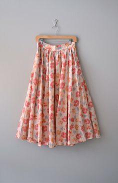 vintage Painted Poppies midi skirt