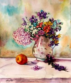 Original Water Color PaintingFlower Still life in от ArtbyJennyYao
