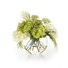 John-Richard Collection Green & White Faux Flowers ($330) ❤ liked on Polyvore