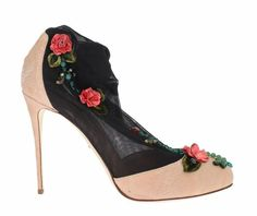 Pink Jacquard Black Roses Socks Shoes Dolce & Gabbana /// Was Black Socks, Stiletto Pumps, Sock Shoes, Peep Toe, Brand New, Luxury, Heels, Model, Pink