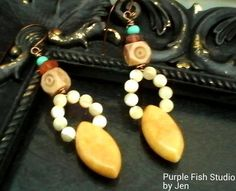 Swirls of Sunshine Tribal Boho Agate Drop Earrings by UrsyllaBs, $42.00