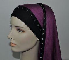 Practical Cotton Lycra Scarf Shawl Wrap Hijab Volume Purple Swarovski Crystals  #SilkStory #ShawlWrap