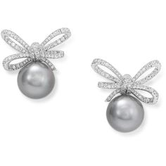 Lyla's Bow White Gold Detachable Earrings by Vanleles Diamonds (216 970 UAH) ❤ liked on Polyvore featuring jewelry, earrings, silver, bow earrings, white diamond earrings, white gold stud earrings, stud earrings and diamond stud earrings
