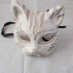 Gatto mask masquerade handmade of plaster and by mademeathens