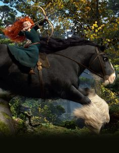 Merida and Angus, riding through the forest