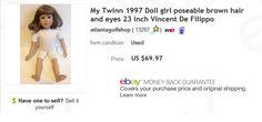 My Twinn doll, $10 at garage sale, sold for $69.97 on eBay