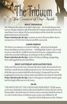 St. John Paul II - Reflections on The Tridium