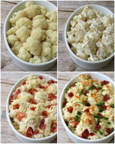lindastuhaug - lidenskap for sunn mat og trening Cauliflower, Side Dishes, Goodies, Food And Drink, Potatoes, Keto, Healthy Recipes, Vegetables, Bacon
