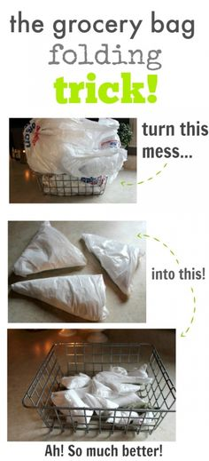 I may have already pinned this, but just in case . Messy grocery bags are a thing of the past! How to fold them neatly in seconds and never worry about them again! Grocery Bags, Grocery Bag Storage, Grocery Bag Holder, Ideas Hogar, Helfer, Organization Hacks, Kitchen Organization, Organizing Ideas, Home Hacks