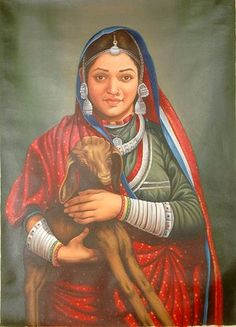 Tribal Beauty, Oils Oil on Canvas Indian Women Painting, Indian Paintings, Oil Paintings, Rajasthani Painting, Composition Drawing, Hindu Statues, Art Village, India Art, Woman Painting
