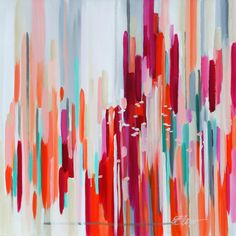 Red, coral, magenta, blue, turquoise abstract painting. Could do a DIY version of this!