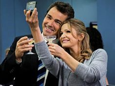 """Kyra Sedgwick and Jon Tenney enjoyed a drink after wrapping The Closer's 100th episode (airing December 5 on TNT), which executive producer James Duff calls """"a light Christmas gift"""" to fans. Description from wggb.com. I searched for this on bing.com/images"""