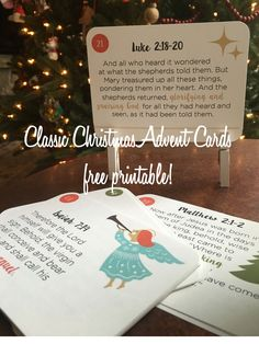 Classic Christmas Advent Cards :: FREE printable
