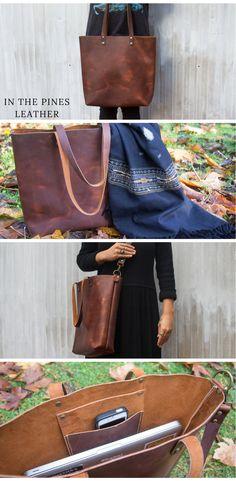 Rustic Leather Tote #leathertote #leatherbag #leatherpurse #leatherwork #handstitchedleather Diy Leather Tote, Leather Bags Handmade, Leather Craft, Leather Purses, Minimalist Bag, Brown Leather Totes, Leather Projects, Leather Working, Vintage Leather