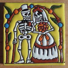 "Talavera Mexican 4"" tile hi relief Day of the Dead Man Woman Bride Wedding Gold"