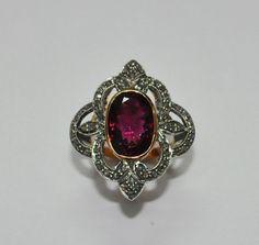 Pink Tourmaline Oval & Diamond Round Studded 14Kt Gold Ring