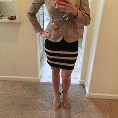Black mini skirt Black mini skirt with tan stripes. Good condition Forever 21 Skirts Mini