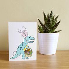 T Rex Bunny Dinosaur Easter Card