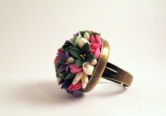 Ring by polymer clay Polymer Clay Ring, Jewelry Drawing, Creative Art, Artworks, Handmade Jewelry, Wedding Rings, Passion, Engagement Rings, Flower