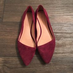 """Madewell Mira Flats, Size 7, Plum Wine This sleek suede flat has a pointy toe and a low-cut vamp. •Suede upper. •Leather lining. •1/5"""" heel. •Man-made sole. •Import. •Bought directly from Madewell Madewell Shoes Flats & Loafers"""