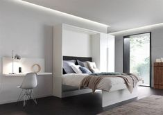 Bedroom sofa with Storage Luxury the London Wallbed Pany sofa Wallbeds Loft Bedroom Sofa, Home Bedroom, Bedroom Decor, Bed Furniture, Living Room Furniture, Modern Murphy Beds, Printed Sofa, Murphy Bed Plans, Bed Wall
