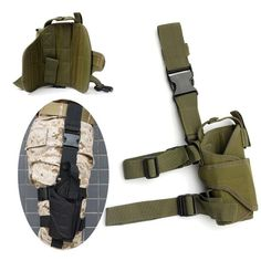 Feature:  -Tactical thigh pistol holster -Fully adjustable wrap-around design for additional fit and security -Adjustable non-slip leg straps -Quick release buckle and Velcro strap make this holster fully adjustable -Ideal for military, law enforcement, hunters -Waterproof Material: Nylon  -Size(abt.): 200 x 100