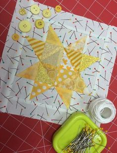 This shiny star block for January is made up entirely of 1 1/2'' and 2'' strips and squares and will finish at 8'' square. Sew one or sew a dozen, these are so easy that you'll want to make many!
