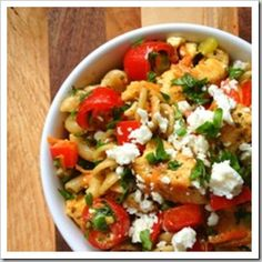 Greek Chicken Pasta Salad with Feta and Herbs
