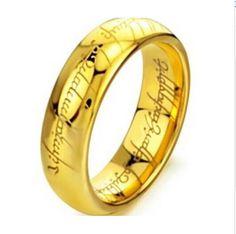 Grabado Con Láser de oro y Anillo de Plata de la Joyería de La Vendimia Anillo de la Cadena de Acero Inoxidable Para Hombres y Mujeres joyería de la boda