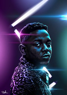 Illustration/Portrait of Kendrick Lamar who's definitely in the top 5 current rapper.