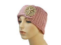 Blush crochet ear warmer with handmade by KittyBritchesBoutiqu