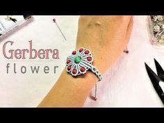 Macrame bracelet tutorial: The Gerbera flower - easy step by step guide - YouTube