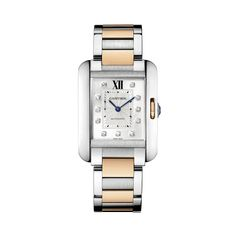 Cartier Tank Anglaise watch, medium model - Automatic, pink gold and steel, diamonds