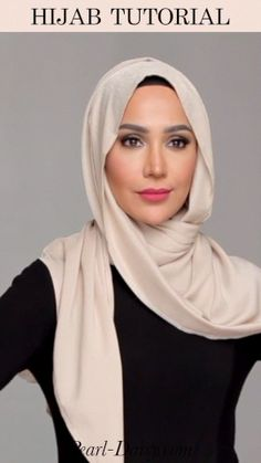 Cream Hijab Tutorial - Pearl Daisy - Check out more and on Pearl Daisy! Click the link to check it out… - Modern Hijab Fashion, Hijab Fashion Inspiration, Muslim Fashion, Hijab Turban Style, Mode Turban, Hijab Style Dress, Simple Hijab Tutorial, Hijab Style Tutorial, Mode Abaya