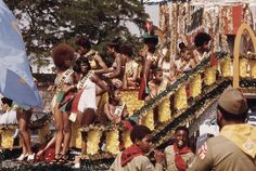 Participants on a float during the Bud Billiken Day parade along Dr. Martin L. King Jr. Drive, August 1973. #  John H. White/NARA