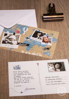 Faire-part original naissance - pastilles et petits pois -  thème voyage pour bebe globe trotteur avec carte du monde, parcours et montgolfière
