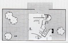 Ludwig Mies van der Rohe, Courtyard House with Garage, 1934 Ludwig Mies Van Der Rohe, Paper Architecture, Architecture Drawings, Architecture Plan, House Plan With Loft, Beach House Plans, Courtyard House Plans, Architect Drawing, Plan Drawing