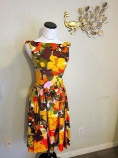 60s Kamehameha dress orange yellow green pink brown floral hibiscus Hawaiian tiki tropical XS