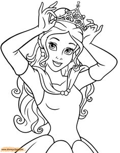Disney Princess Coloring Pages Belle Reading
