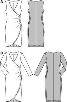 This tight-fitting dress with gathered sides requires softly draping, stretchy fabrics. Sleeveless or with sleeves, this striking, feminine wrapped dress makes a shapely décolleté. A Burda Style sewing pattern. Burda Patterns, Dress Sewing Patterns, Clothing Patterns, Sewing Clothes, Diy Clothes, How To Start Knitting, Miss Dress, Pattern Drafting, Sewing Techniques