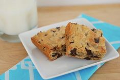 Chocolate Chip Cookie Bars Printable Recipe  1/2 cup (1 stick) butter 1/4 cup granulated sugar 1/2 cup brown sugar 1 egg 1 teaspoon vanilla 1 cup flour 1 teaspoon baking powder 1/4 teaspoon salt 1 cup milk chocolate chips  Preheat oven to 350F. Line an 8 x 8 pan with parchment or aluminum foil. Spray lightly with oil.  Melt butter; stir in granulated sugar and brown sugar. Beat in egg and vanilla. Add flour, baking powder, and salt; stir just until combined. Fold in chocolate…